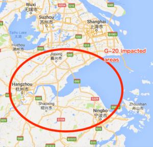 G-20 Summit Impacted Areas: Hangzhou, Shaoxing, Jiaxing, Yuyao, Ningbo