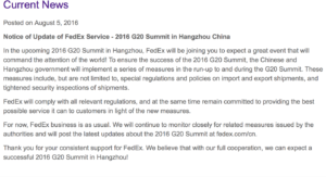 Even Fedex is unsure of the impact of the G-20 on their deliveries