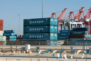 Hanjin containers at the Port of Long Beach