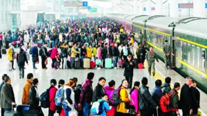 Crowded as usual at a Chinese train station