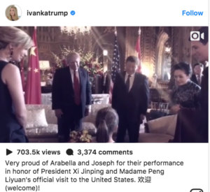 First Granddaughter Anabella Trump singing in Mandarin to President Xi